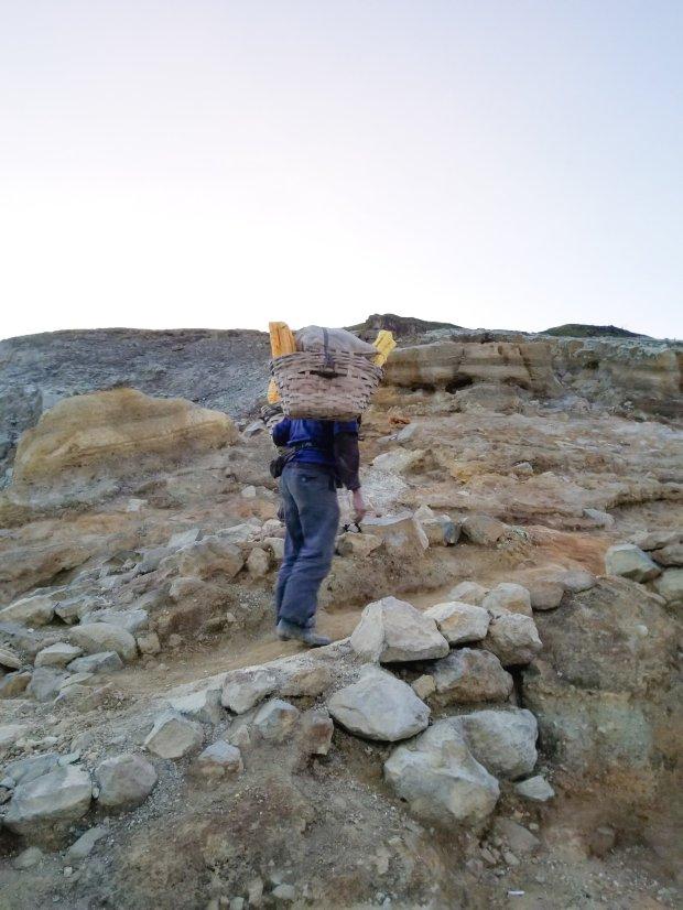 Sulfur mining Mount Ijen