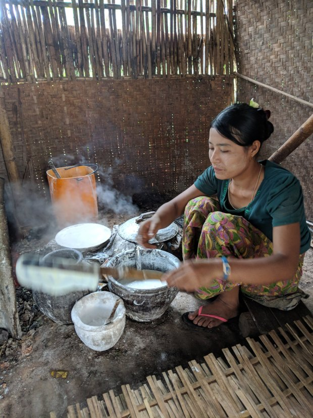 Making rice pancakes in an Indein Village on Inle Lake
