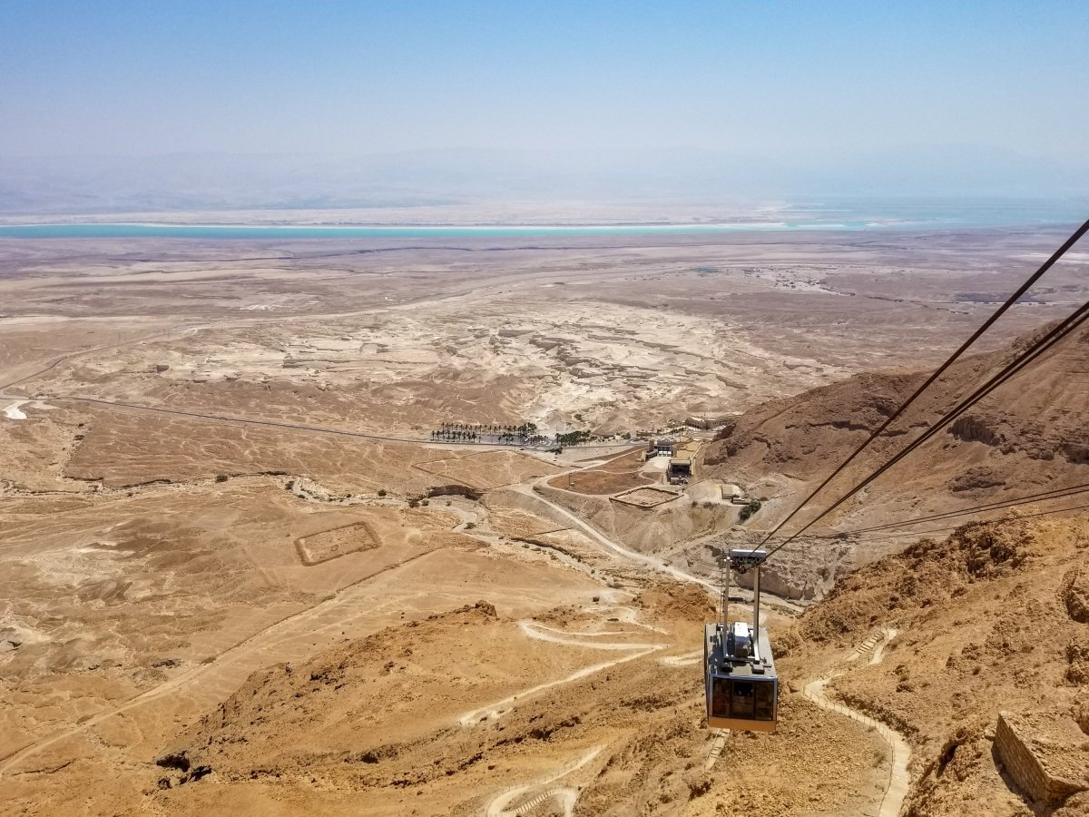 The view of the desert, Dead Sea and Gondola at Masada Israel