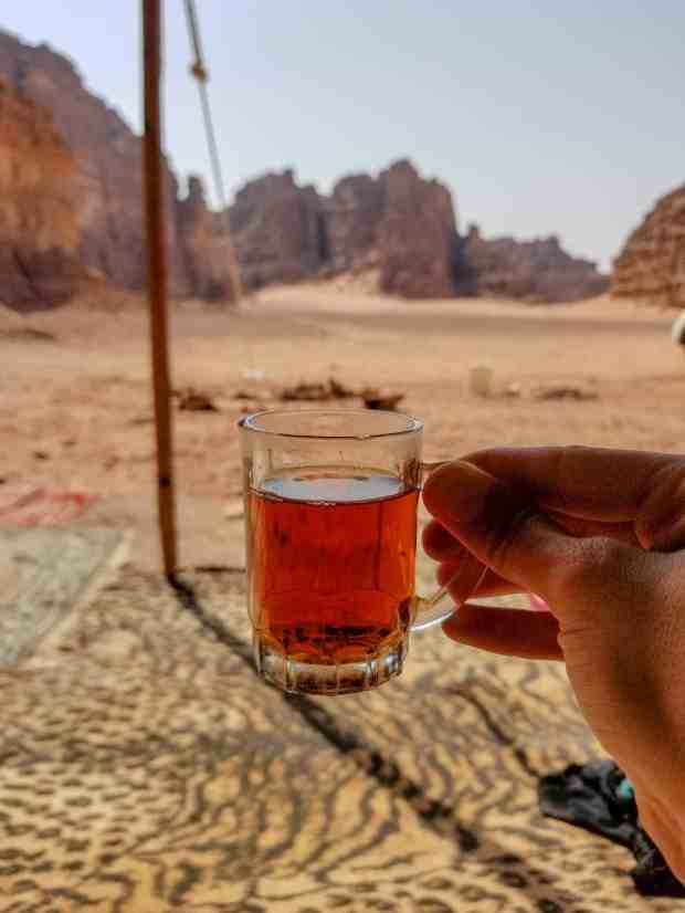 Herbal desert tea in Wadi Rum Jordan