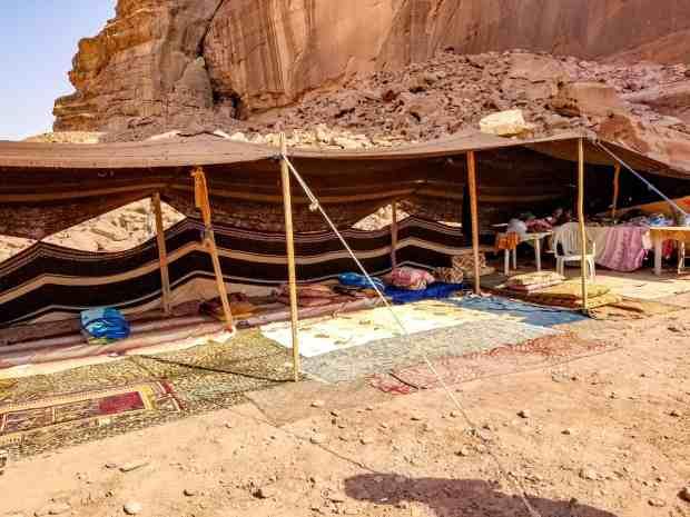 Bedouin man's tent in Wadi Rum Jordan