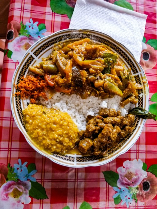 Typical Sri Lankan rice and curry meal