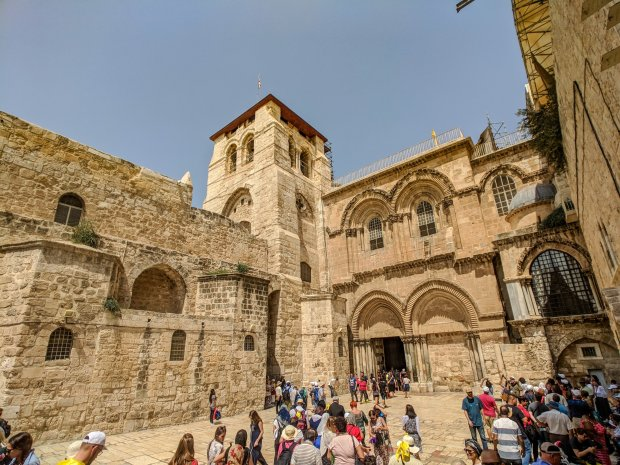 Outside of the Church of the Holy Sepulcher Israel Jerusalem