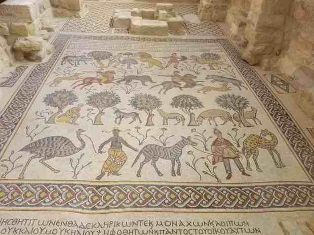 The tiled floor mosaic at the Moses Memorial Church Jordan