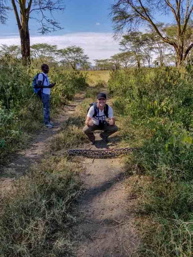 Rock python in crater lake reserve Naivasha Kenya