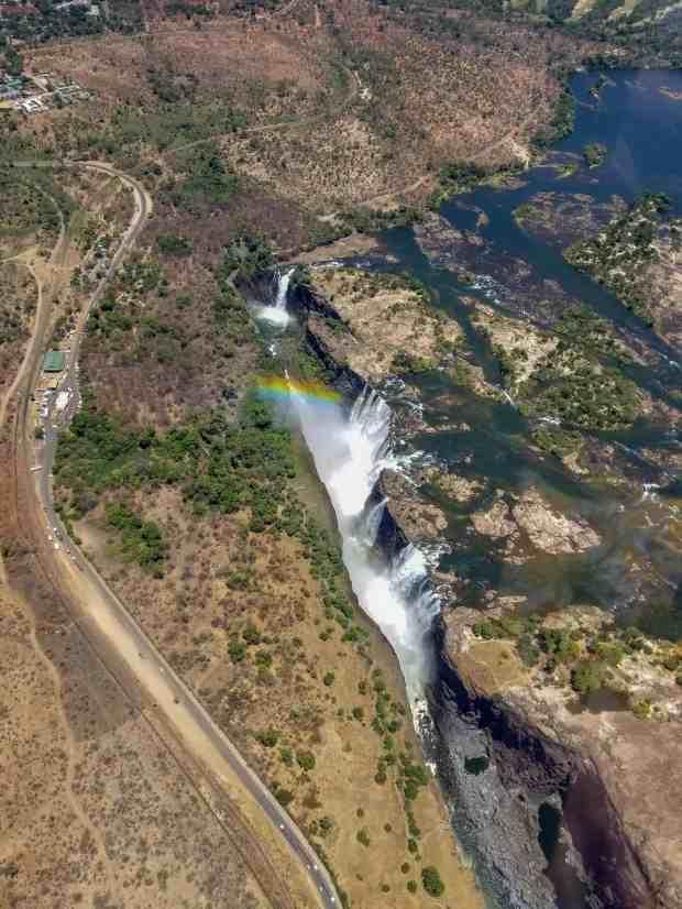 Scenic helicopter fight at Victoria Falls Zambia