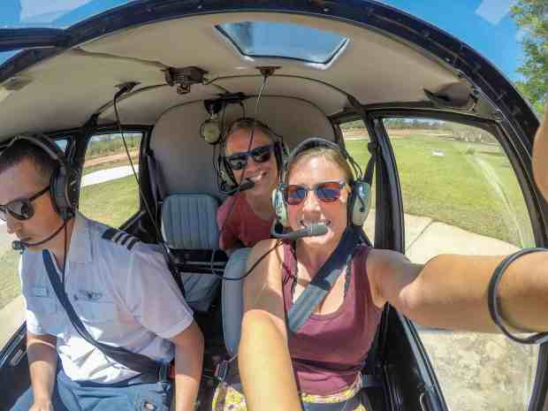 Selfie in helicopter at Victoria Falls Zambia Africa