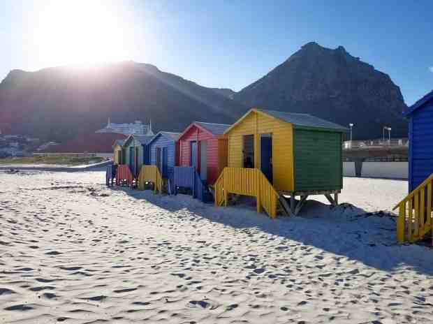 Muizenberg Beach bathing houses cape Town South Africa
