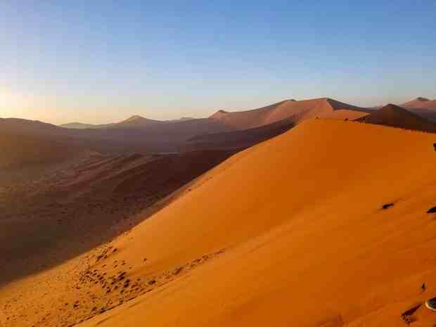 Dunes of the Namib Desert at sunrise from Dune 45 Namibia
