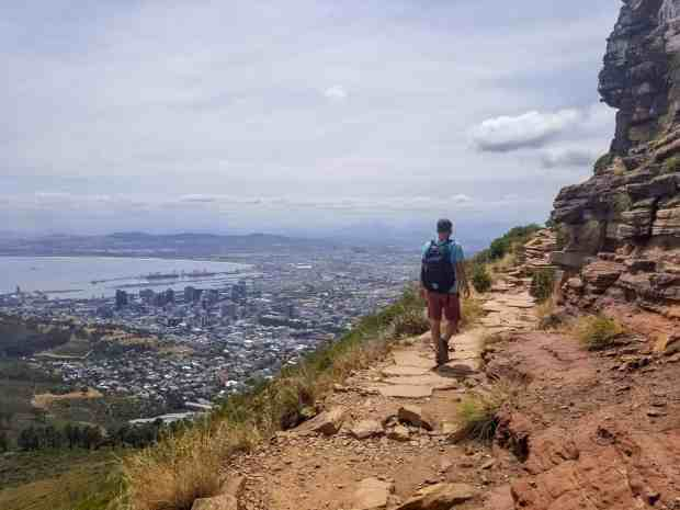 The trail on Lion's Head mountain overlooks the city and the ocean Cape Town, South Africa