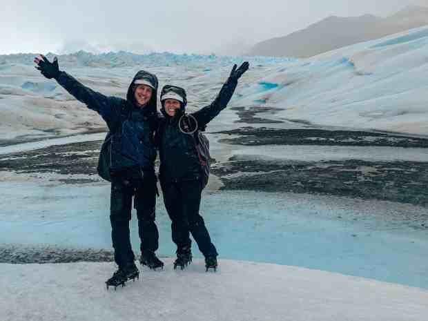 Couple on the ice perito Moreno Glacier Argentina Patagonia