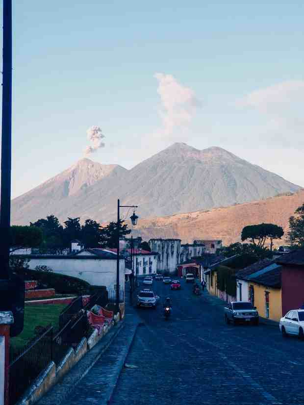 Views of Fuego and Acatenango Volcanos from Antigua