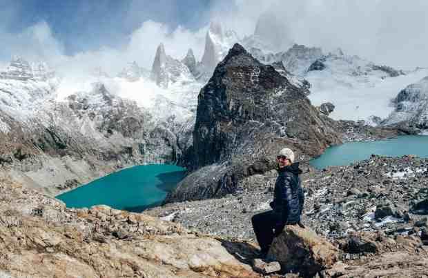 Two lakes at Laguna de los Tres El Chaltén Argentina Patagonia