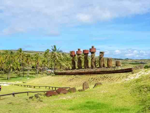 The coastal moai of Anakena Rapa Nui Easter Island Chile