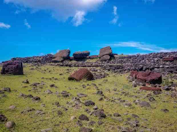 Toppled moai at Akahanja Rapa Nui, Easter Island, Chile