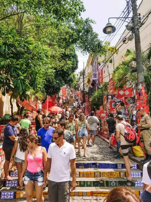 Chaos and crowds at the Saleron Steps, Rio de Janeiro, Brazil