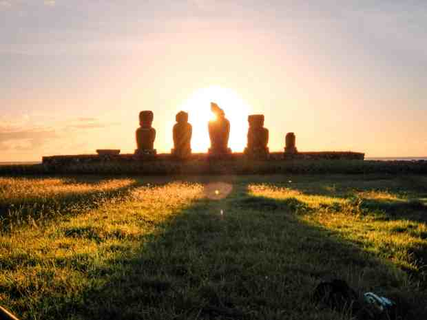 Sunset at Ahu Tahai, Rapa Nui Easter Island, Chile