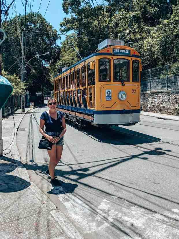 Iconic yellow tram in Santa Theresa neighborhood Rio de Janeiro, Brazil