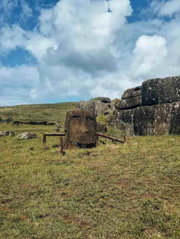 Vinapu moai and intricate stone wall Rapa Nui Easter Island Chile