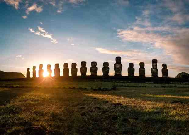 Sunrise at Tongariki Rapa Nui Easter Island Chile