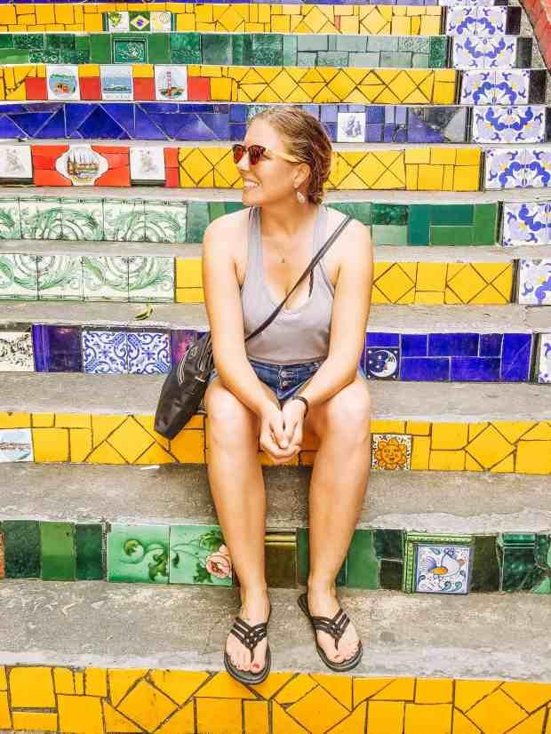 Sitting on the Saleron Steps in Rio de Janeiro, Brazil