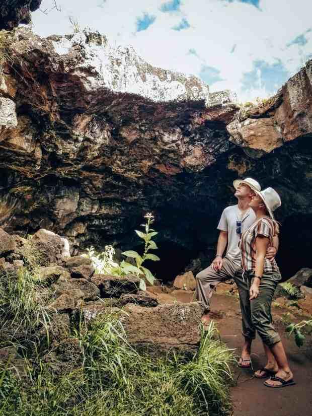 Exploring the Ana Te Pahu cave Rapa Nui Easter Island Chile