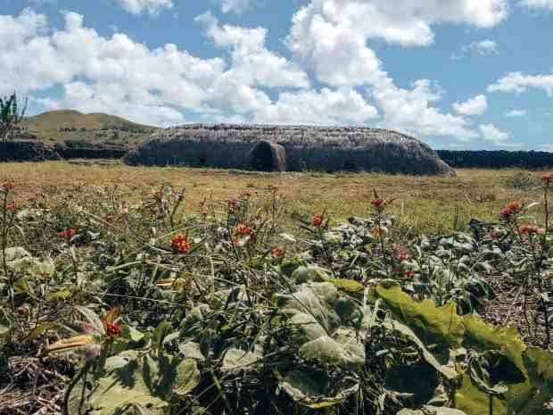 Rapa Nui home recreation at Vaihu Easter Island Chile