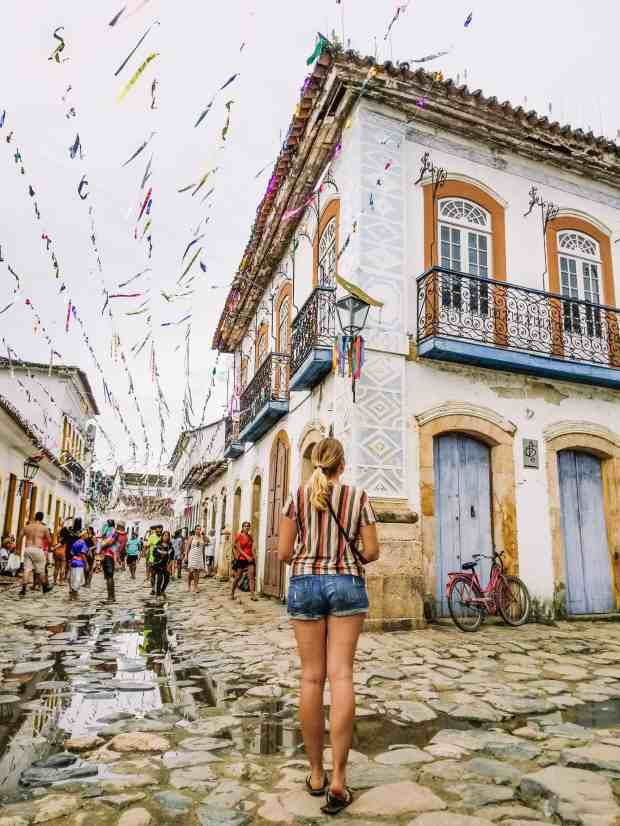 The streets of Paraty, Brazil during Carnaval