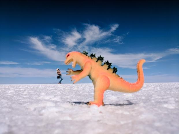 Giant dinosaur in Uyuni Salt Flat Bolivia