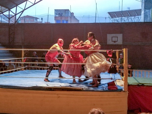 Cholitas wrestling in La Paz