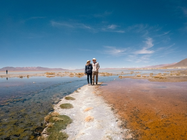 Colorful landscapes at the hot springs of the Bolivia desert