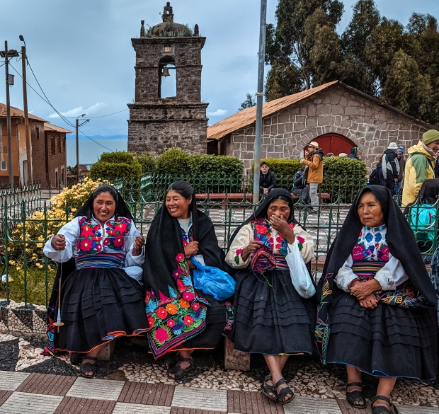 Women on Amantani Island on Lake Titicaca