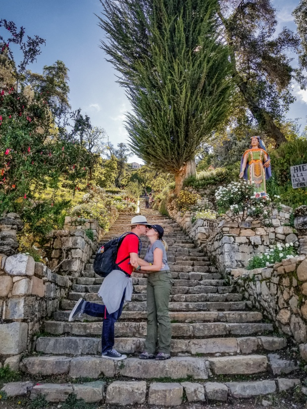 Couple kissing on Inca Steps, Isla del Sol, Bolivia