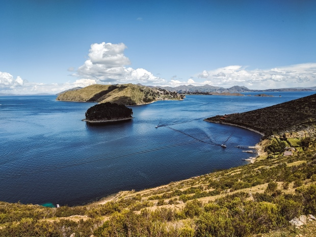 View over Lake Titicaca from Isla del Sol, Bolivia