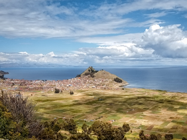 Panoramic view of Copacabana, Bolivia on lake Titicaca