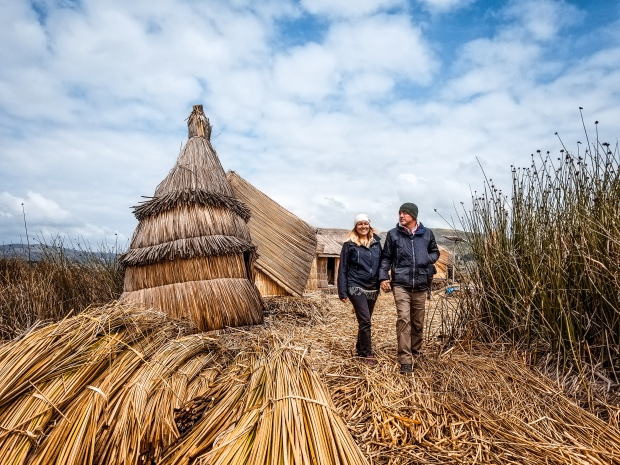 Uros floating island village made of reeds
