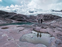 Our guide led us to these glacial ponds under the glacier